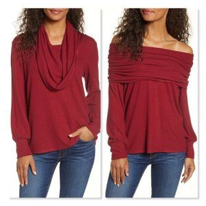 Gibson Cozy Deep Red Convertible Neck Sweater